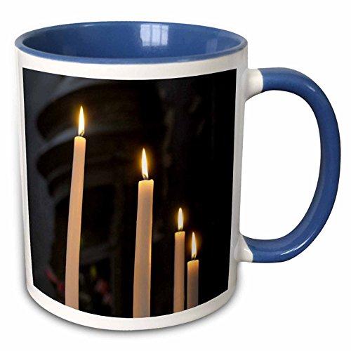 3dRose Danita Delimont - France - Burgundy, Nievre. Votive candles, Nevers Cathedral - 15oz Two-Tone Blue Mug -