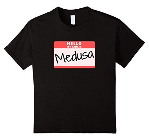 Medusa Costume Girl (Kids Hello My Name is Medusa Funny Halloween Monster T-Shirt 8 Black)