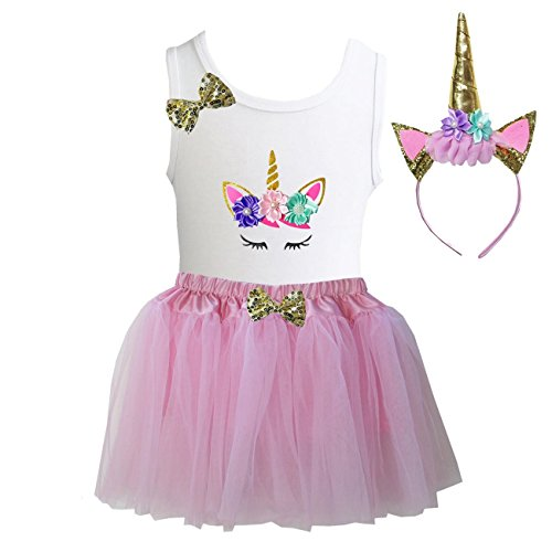 Kirei Sui Girls Light Pink Tulle Tutu Birthday Unicorn M Unicorn -