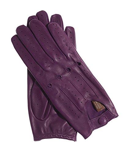 Ladies Leather Driving Gloves (Fratelli Orsini Everyday Women's Open Back Leather Driving Gloves Size 7 1/2 Color Grape)
