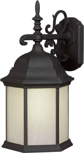 Forte Lighting 17009-01-04 Energy Efficient 1LT CFL Exterior Wall Lantern, Black Finish with Frosted Seeded Glass