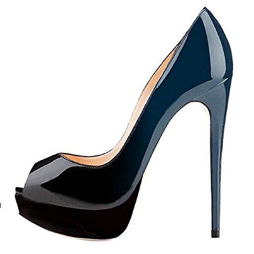 High Shoes Shoes Stiletto Black Blue Peep Gradient Handmade On Court Party Toe Color Dress Slip Platform Heels Women Emiki Wedding IqCwTxzx