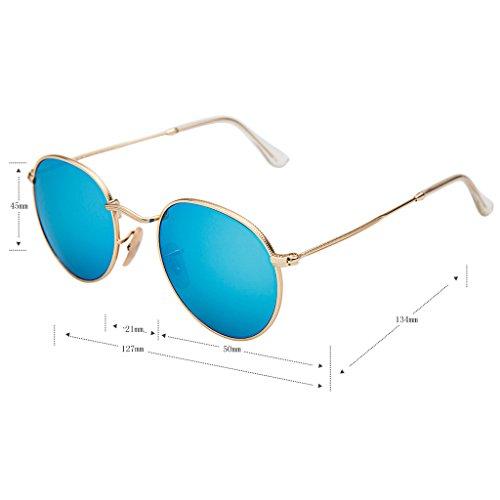 09eb58b57d LianSan Classic Metal Frame Round Circle Mirrored Sunglasses Men Women  Glasses 3447(Z-sky