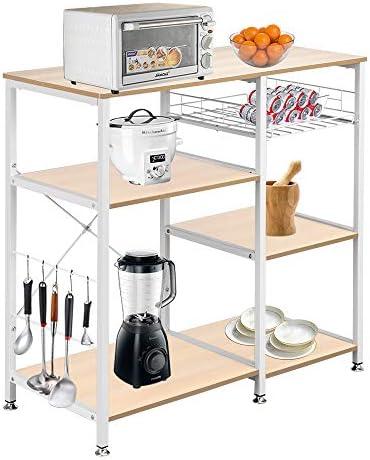 SSLine Kitchen Baker's Rack Microwave Oven Stand Cart Kitchen Island Utility Storage Shlelves