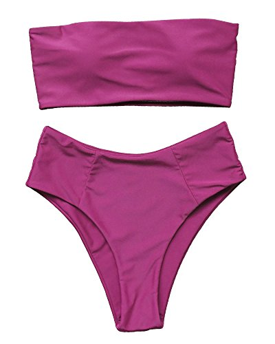 OMKAGI Women's 2 Pieces Bandeau Bikini Swimsuits Off Shoulder High Waist Bathing Suit High Cut(S,Wine - Bustier 2 Piece