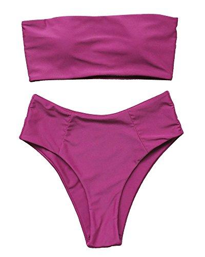 OMKAGI Women's 2 Pieces Bandeau Bikini Swimsuits Off Shoulder High Waist Bathing Suit High Cut(L,Wine Red)