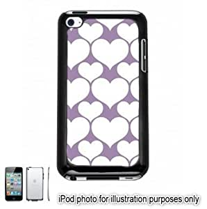 Purple White Hearts Love Monogram Pattern Apple iPod 4 Touch Hard Case Cover Shell Black 4th Generation