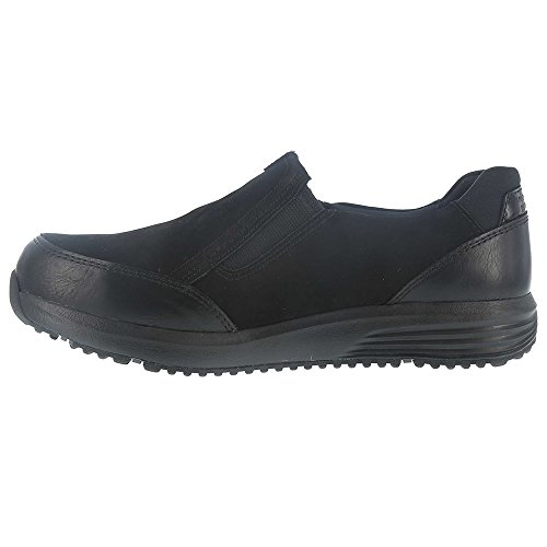 Rockport Vrouwen Zwart Nubuck Leer Werkschoenen Stalen Neus Slip-on Black