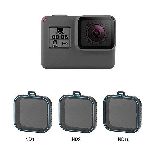 AuyKoo Juego de 3 Protectores de Objetivo ND (ND4 ND8 ND16) Filtro de Densidad Neutra para GoPro Hero 5 6 7, Black
