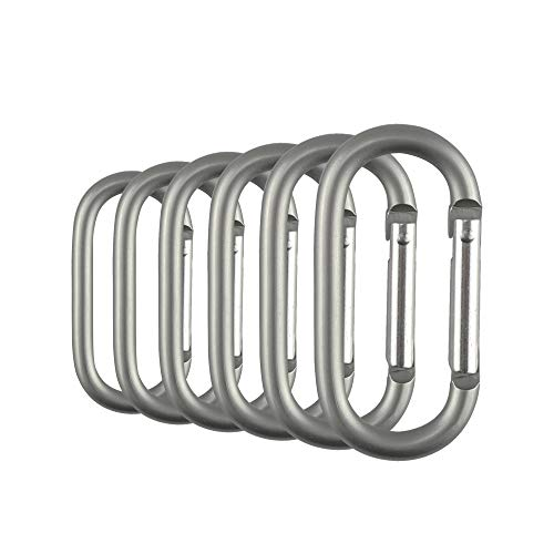 Swatom Aluminum Alloy Oval Carabiner Clip Spring Snap Hook Keyring Carabiners for Camping Traveling Hiking Keychains Outdoor Accessories Grey (6Pcs)