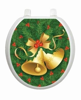 Christmas Bells Toilet Tattoo TT-X611-R Round Winter Snow Holiday by Toilet Tattoo