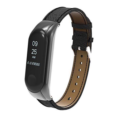 Goodtrade8 For Xiaomi Mi Band 3 Band, Women Men Replacement Wristband leather Band Strap + Metal Case Cover For Xiaomi Mi Band 3 Smart Watch Bracelet Black