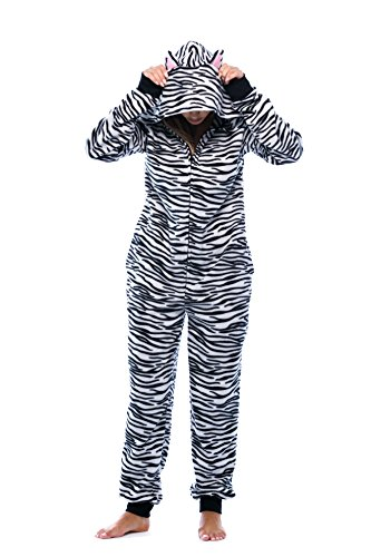 (6453-10218-M Just Love Adult Onesie with Animal Prints / Pajamas, Medium, White)