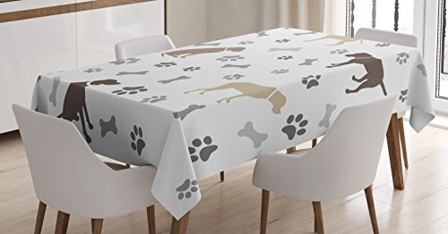 Ambesonne Dog Lover Tablecloth, Paw Print Bones and Dog Silhouettes American Foxhound Breed Playful Pattern, Rectangular Table Cover for Dining Room Kitchen Decor, 60
