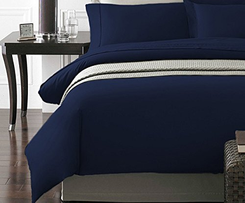 Spirit Linen Hotel 5Th Ave New York Collection 3-Piece Luxurious Ultra Soft Duvet Cover with Pillow Cases, Full/Queen, Navy