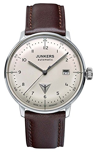 Junkers Bauhaus Men's Automatic 25J Analog Date Watch Brown Strap 6056-5