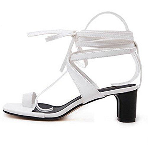 Mode Dentelle Toe La Chaussures Square Sangle Flip Bas Blanc Jusqu'à Flops Femmes Sandales Cheville Talons Ring D'été PwzxCqS