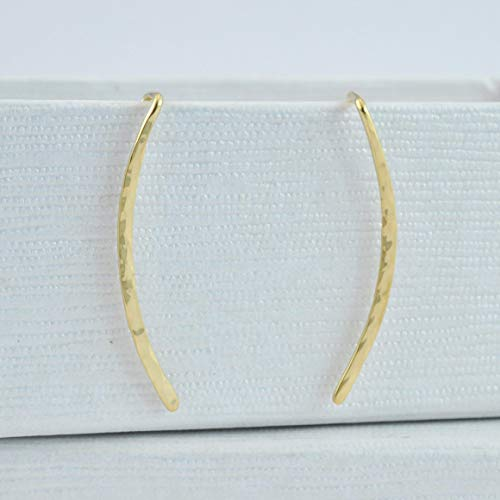 BenittaMoko Handcrafted Hammered Bar Earrings Ear Climbers Sweeps Jackets Cuffs Silver 925 Gold Plated