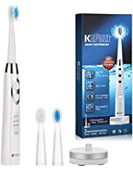 Electric Toothbrush Rechargeable Sonic Toothbrush with Replacement Heads 3 Brushing Modes 35000 Power Achieve Whiter Healthier Teeth Water Proof IPX7 White by KIPOZI