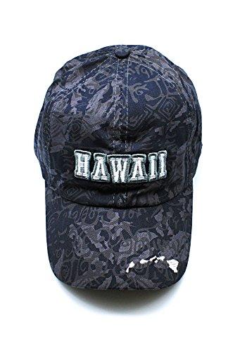 Gris bordado en floral Hibiscus Gorra Camuflaje de sombrero Hawaii ajustable Mapa ZfH4x