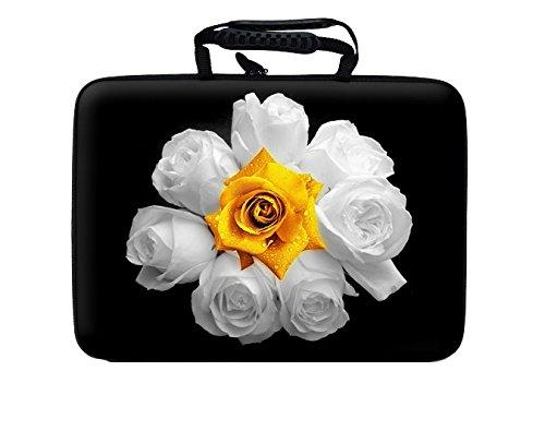 """10""""-17.6Pulgadas Diseño Portátil Notebook duro caso bolsa con asa. Varios diseños y tamaños disponible. White and Yellow Roses"""