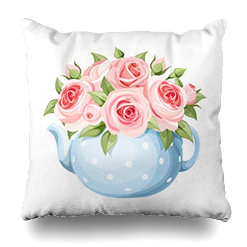 (YeaSHARK Throw Pillow Covers Leaves Green Bouquet Pink English Roses Dishware Blue Teapot Nature Bloom Blossom Bud China Floral Zippered Design Square 20