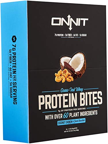 New! Onnit Protein Bites (Chocolate Coconut Cashew - Box of 24) | Made with Grass Fed Whey & over 60 Plant Ingredients | 7g Protein Per Bar