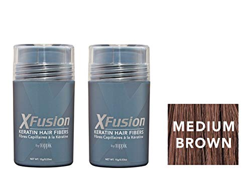 - Xfusion Keratin Hair Fibers,Two Pack Value 2 x 15 gr MEDIUM BROWN