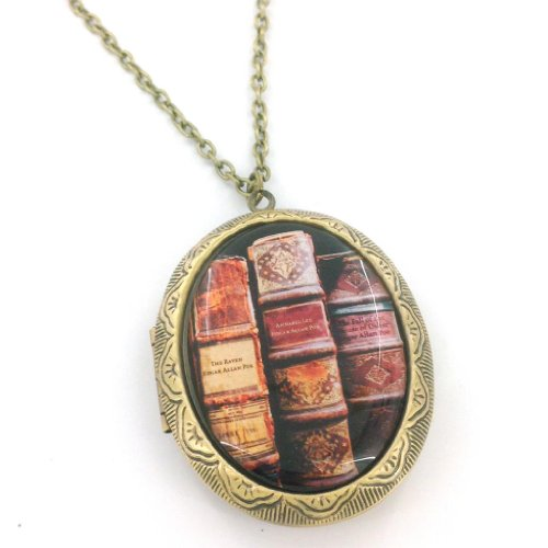 (Edgar Allan Poe Books Cameo Locket Necklace)