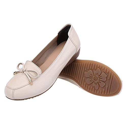 Summer Jamron Out Leather Genuine Loafer Moccasins Women Hollowed Wedge Comfort Beige Breathable Heel Slippers HrRr7tn