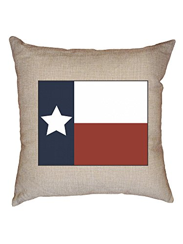 Hollywood Thread Simple Colorful Texas State Flag and Colors Decorative Linen Throw Cushion Pillow Case with Insert ()