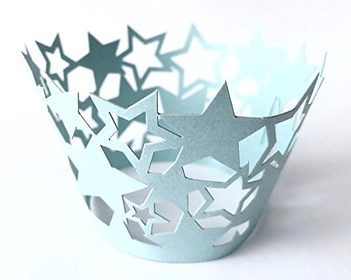 (12 pcs Star Cupcake Wrappers Wrapper for Standard Size Cupcake Liners (Choose Color) (Baby Blue))