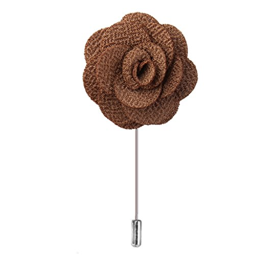 Broche Pin a Smoking Fleur Rose en Tissu a la Boutonniere Revers pour Homme Brun
