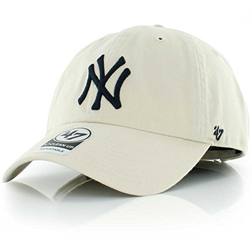 MLB New York Yankees Men's '47 Brand Clean Up Cap, Natural, - Mlb Yankees York New Hat