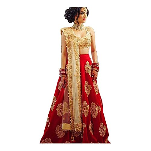 Embroidered Semi Stitched Lehenga, Choli and Dupatta Set (Red)
