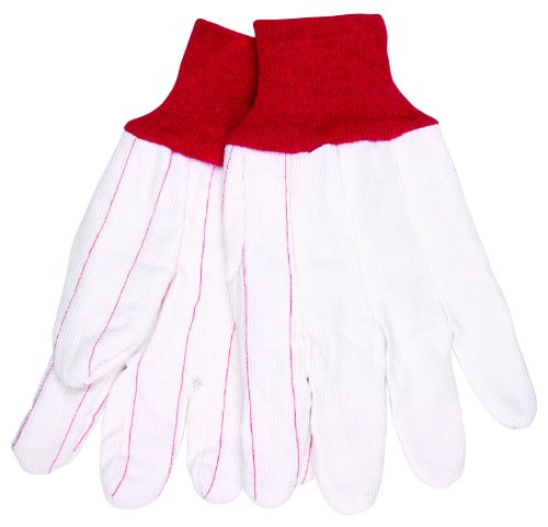 MCR Safety 9018CDPCR Nap Out Polyester/Cotton Corded Double Palm Men's Gloves with Red Knit Wrist and Straight Thumb, White, Large, (Corded Canvas Glove)