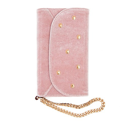 Sonix Pink Velvet Embellished Wristlet Case - Wallet Cell Phone Case for Apple iPhone X, iPhone Xs