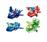 Super Wings - Transforming Toy Figures 4 Pack |Agent Chase, Flip, Jerome and Mira | 2'' Scale
