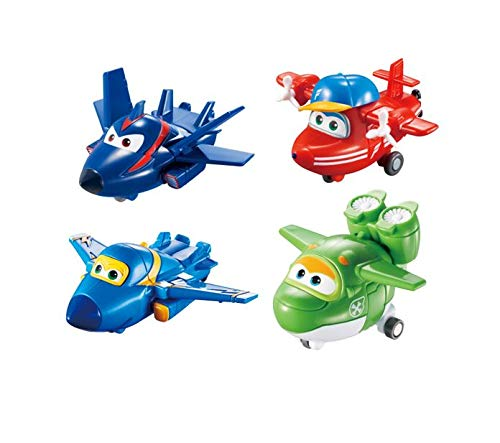 Super Wings - Transforming Toy Figures 4 Pack |Agent Chase, Flip, Jerome and Mira | 2