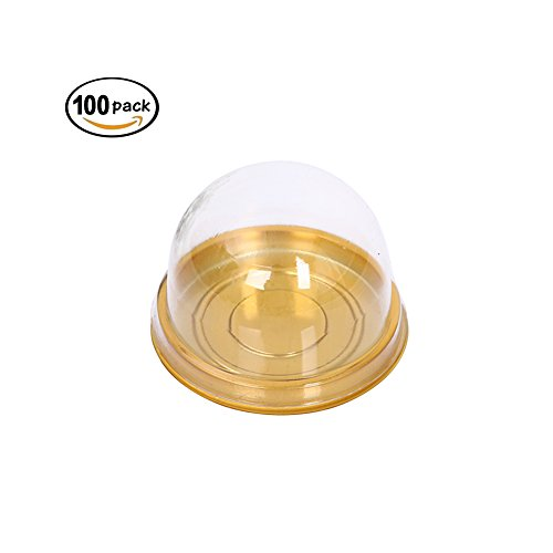 (Frjjthchy Round Cake Boxs Transparent Plastic Cake Display Containers Cupcake Boxes Cake Take Out Holders for Weddings Parties Gold (100)