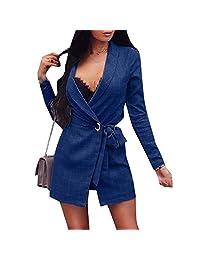 xiaohuoban Womens Long Sleeve Sim Fit Split Bussiness Lace Up Blazer Jacket