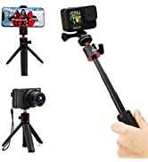 AFAITH Extendable Selfie Stick for GoPro, Mini Tabletop Youtuber Vlog Live Tiktok Phone Holder Tr...