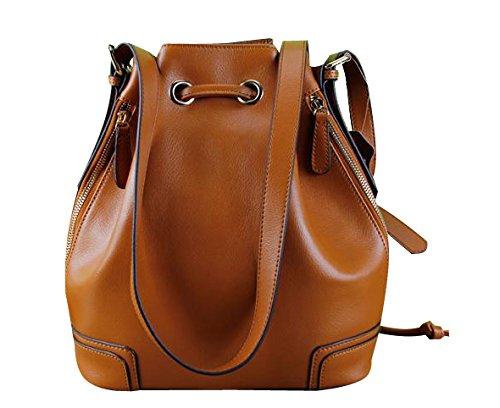 (ILISHOP Hot Sale Women's Fashion Genuine Cow Leather Drawstring Bucket Tote Shoulder Handbag (Earth-yellow))