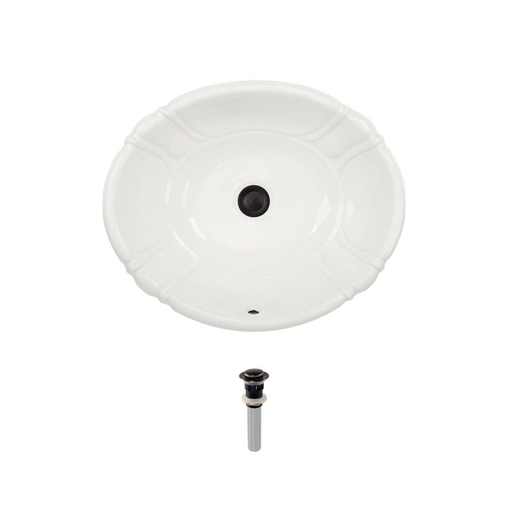 O1815-Bisque Overmount Porcelain Bathroom Sink Ensemble, Antique Bronze Pop-Up Drain