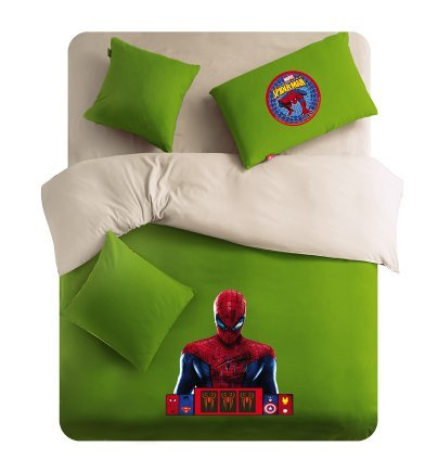 Lt Twin Full Queen Size 4-pieces Green White Spider-man Soft Sanding Brushed for Kids Boys Girls Teens Character Cartoon Toddler Prints Fitted Sheet Sets (Mattress Cover) Ruffle Duvet Cover Set/bed Linens/bed Sheet Sets/bedclothes/bedding Sets/bed Sets/bed Covers/5-pieces Comforter Sets/bed in a Bag (Full, 5pcs with comforter)