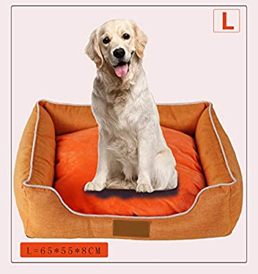 HenLooo Cama para Perros, Mascota, Perrera Grande, Cuatro Estaciones, Alfombra para Mascotas, removible y Lavable, no Impermeable, Naranja,L