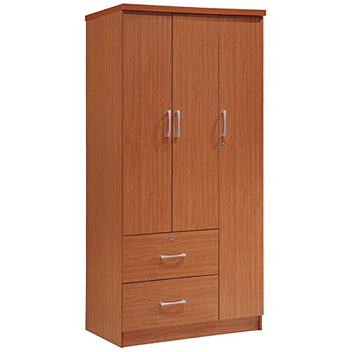 Pemberly Row 3 Door Wardrobe Armoire Closet with 2 Drawers in Cherry by Pemberly Row