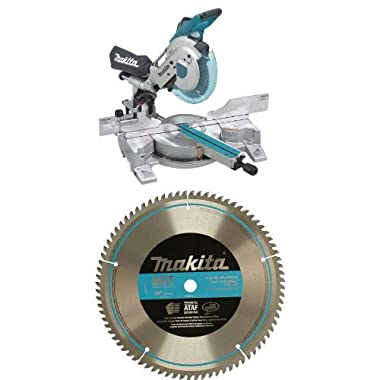 Makita LS1016L 10-Inch Dual Slide Compound Miter Saw with  A-93681 10-Inch 80 Tooth Micro Mitersaw Blade Bundle