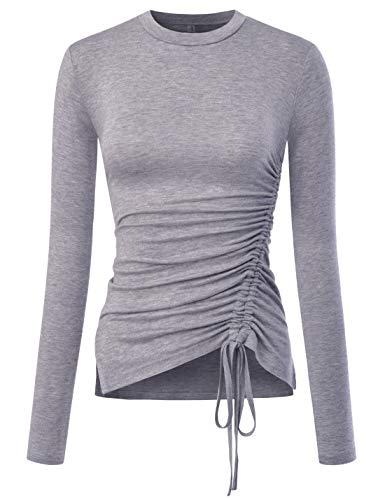 (NEARKIN (NKNKWT103 Round Neck Side Slit String Asymmetrical Ruched T Shirts for Women Gray US L(Tag Size XL))