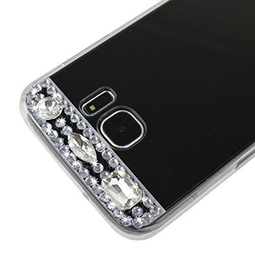 Fundas Galaxy S7 Edge, TPU Galaxy S7 Edge Teléfono de Cáscara, Moon mood® Espejo Rhinestones Bling Glittar con Anillo Rotación de 360 Grados Soporte Función TPU Silicona Delgado Mirror Efecto Caso Tra Negro con Anillo
